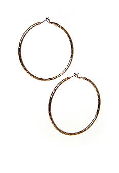 New Directions Gold Diamond Cut Slit Hoop Earrings