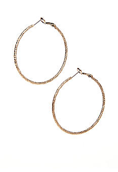 New Directions Gold Diamond Dust Hoop Earrings