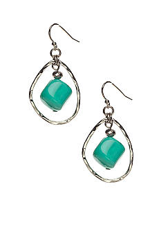 New Directions Turquoise and Silver Hoop Earrings