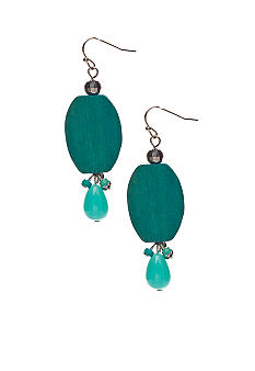 New Directions Turquoise Wood Drop Earrings