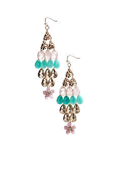 New Directions Flower and Faceted Bead Chandelier Earrings