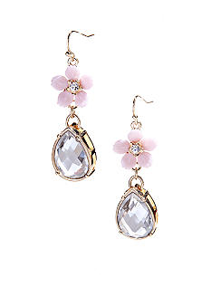 New Directions Flower and Crystal Drop Earrings
