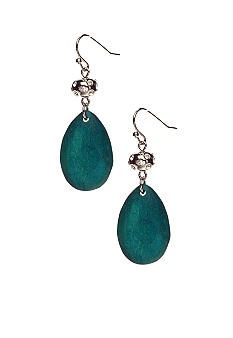 New Directions Turquoise Wood and Sparkle Teardrop Earrings