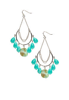 New Directions Turquoise Shell and Silver Hoops
