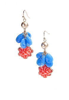 New Directions Flower and Faceted Teardrop Cluster Earrings