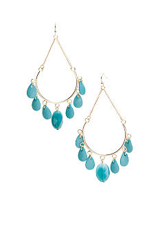 New Directions Turquoise Beaded and Chain Hoop Earrings