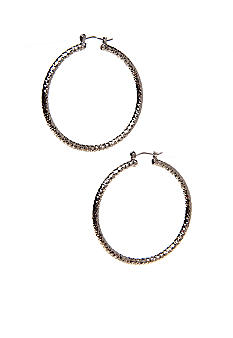 New Directions Checkered Diamond Cut Hoop Earrings