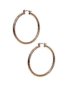 New Directions Gold Checkered Diamond Cut Hoop Earrings
