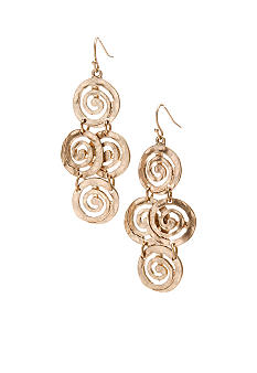 New Directions Worn Gold Swirl Chandelier Earrings