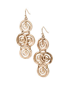 New Directions Worn Gold-Tone Swirl Chandelier Earrings