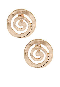 New Directions Worn Gold Swirl Stud Earrings