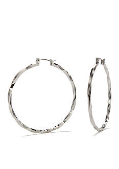 New Directions Gold-Tone Textured Hoop Earrings