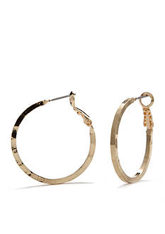 New Directions Gold-Tone Hammered Hoop Earrings
