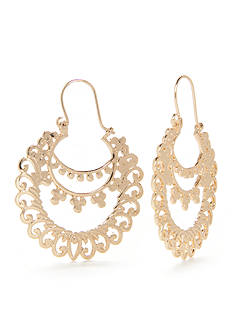 New Directions Metal Lace Gypsy Hoop Earrings