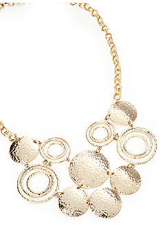 New Directions® Gold Hammered Disc Bib Necklace