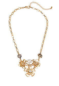 New Directions Metal Flower and Crystal Statement Necklace