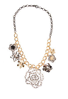 New Directions Crystal and Metal Flower Drop Necklace