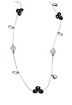 New Directions Black Multi and Silvertone Faceted Bead Illusion Necklace