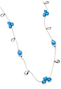 New Directions Blue Multi and Silvertone Faceted Bead Illusion Necklace
