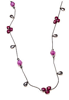 New Directions Purple Multi and Hematite Faceted Bead Illusion Necklace