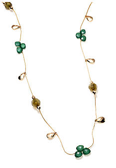 New Directions Green Multi and Gold Tone Faceted Bead Illusion Necklace