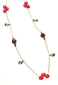 New Directions Red Multi and Goldtone Faceted Bead Illusion Necklace