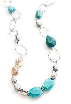 New Directions Turquoise and Silvertone Long Single Strand Necklace