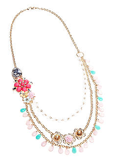 New Directions Beaded Flower and Crystal Long Multi Row Necklace