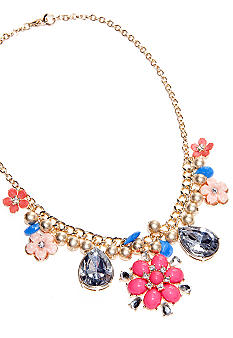 New Directions Flower and Stone Cluster Statement Necklace