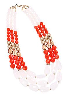 New Directions Coral and White Multi Row Necklace