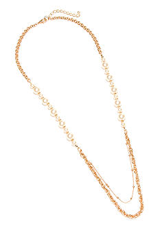 New Directions Pearl and Chain Station Necklace