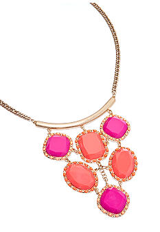 New Directions Pink and Orange Faceted Bib Necklace
