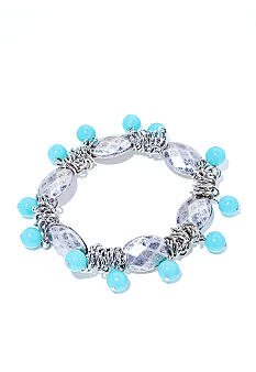 New Directions Silver and Turquoise Shaky Stretch Bracelet