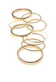 New Directions Gold Tone Smooth and Rope Textured Bangle Set