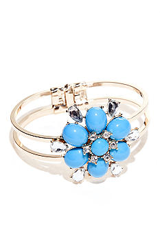 New Directions Flower and Crystal Stone Hinge Bracelet