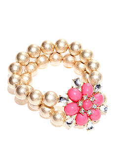 New Directions Flower and Crystal Stretch Bracelet