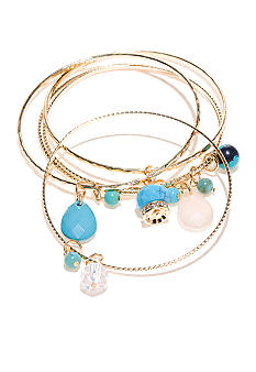 New Directions Turquoise Stone and Gold Bangle Set