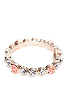 New Directions Flower and Crystal Hinge Bracelet