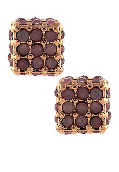 BCBGeneration Flirty Fringe Rose Gold Cube Stud Earrings