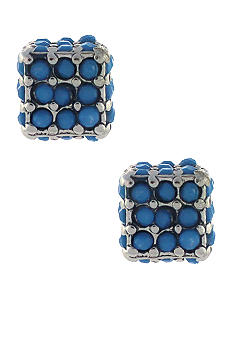 BCBGeneration Flirty Fringe Blue Cube Stud Earrings