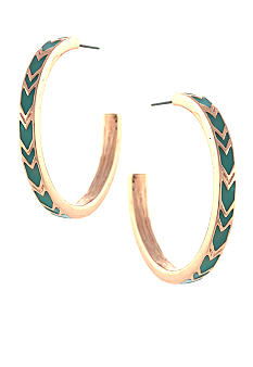 BCBGeneration Rose Gold and Blue Chevron Open Hoop Earrings