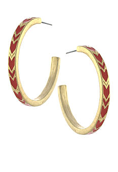 BCBGeneration Gold and Red Chevron Open Hoop Earrings