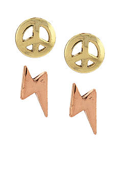 BCBGeneration Gold Peace and Lightning Bolt Stud Earrings Duo