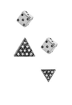 BCBGeneration Silver Dice and Triangle Stud Duo Earring Set