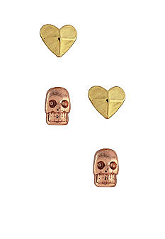 BCBGeneration Gold Tone Heart and Rose Gold Skull Stud Duo Earring Set