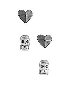 BCBGeneration Hematite Heart and Silver Tone Skull Stud Duo Earrings