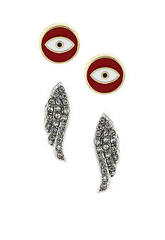 BCBGeneration Red Eye and Gold Wing Stud Duo Earrings