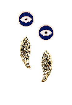 BCBGeneration Blue Eye and Gold Wing Earring Duo Set