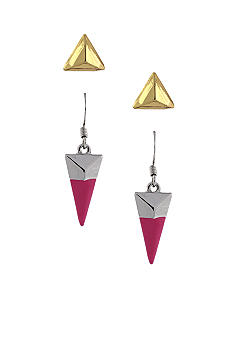 BCBGeneration Two Tone Geometric Stud and Pink Drop Earring Duo Set