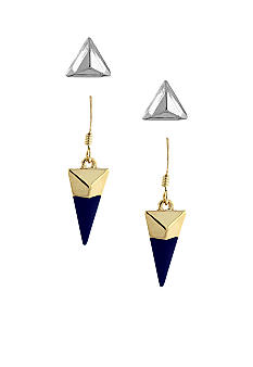 BCBGeneration Silver and Blue Earring Duo Set